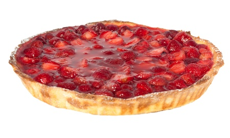 Strawberry pie isolated on white background