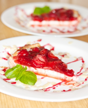 A piece of strawberry pie on a plate Stock Photo