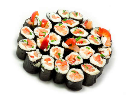Japanese food in the form of sushi on white background
