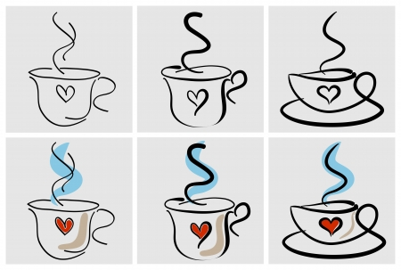 Six stylized cups of coffee with heart Vector
