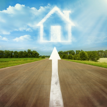 The arrow points to the country house Stock Photo - 14395165
