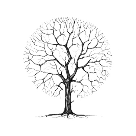 Painted winter tree on a white background