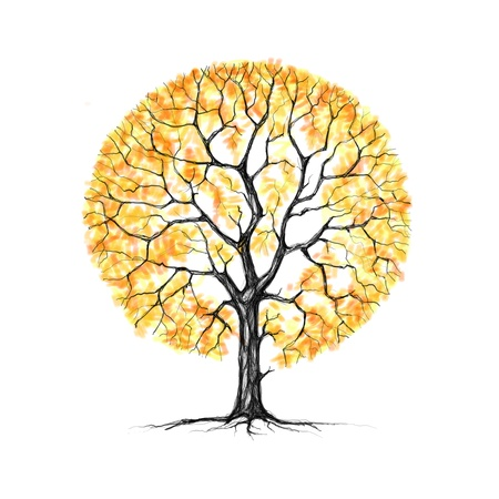 Painted Autumn tree on a white background