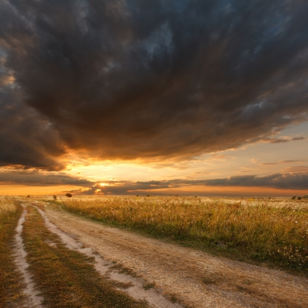 Beautiful view of the sunset in a field on a rural road Reklamní fotografie - 15206561