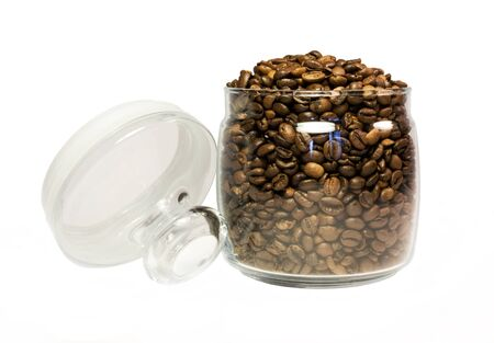 Coffee in a glass jar on a white background