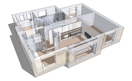 3d apartment sketch on a white background in lines photo
