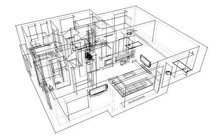interior design kitchen: 3d apartment sketch on a white background in lines Stock Photo