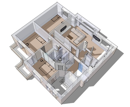 3d apartment sketch on a white background in lines 版權商用圖片