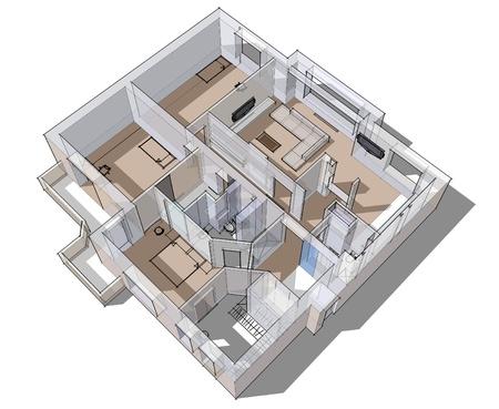 Sketch apartamento 3d en un fondo blanco en líneas Foto de archivo - 15206608