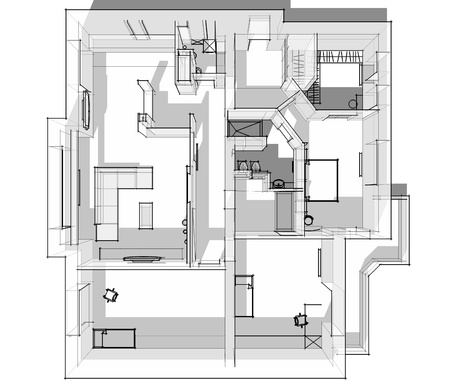 3d apartment sketch on a white background in lines Stock Photo