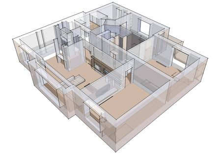 apartment building: 3d apartment sketch on a white background in lines Stock Photo