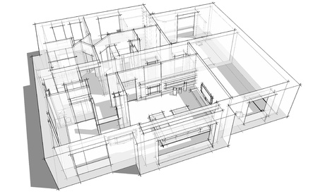 kitchen studio: 3d apartment sketch on a white background in lines Stock Photo