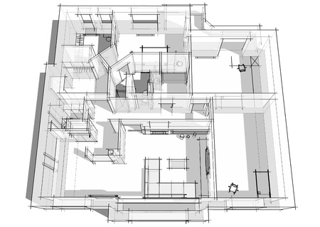 3d apartment sketch on a white background in lines Banque d'images