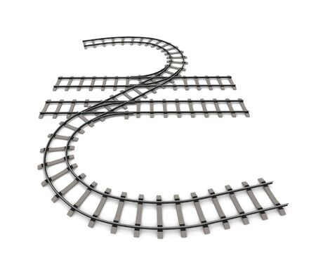 Currency unit in the form of railway rails on a white background