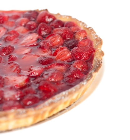Part of the strawberry pie on a white background