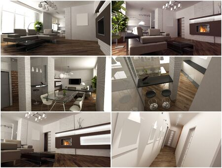 3d interior of the studio living room in a modern style
