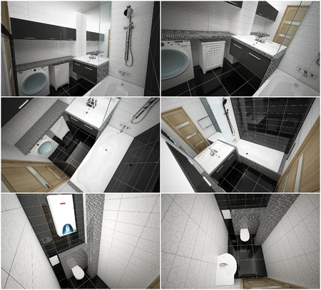 3d interior of modern bathroom and toilet photo
