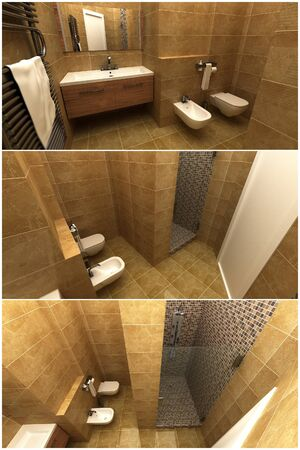 3d interior of modern bathroom with shower photo