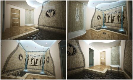 3d interior of a modern swimming pool in the Greek style