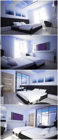 The interior of a hotel room in blue tones photo