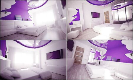 3d interior of a bedroom in gentle tones photo