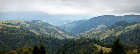 Synevyrska Pass, Carpathian Mountains panorama Stock Photo - 15490987