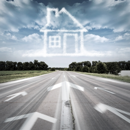 The arrow which points to the property Stock Photo - 16209449