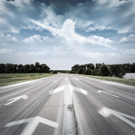 The arrows point to the plane in the sky Stock Photo - 16209440