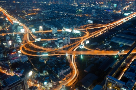 Night in Bangkok - the capital of Thailand, traffic interchange Stock Photo