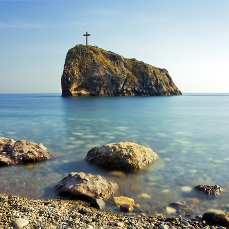 Cross on the Saint George rock, cape Fiolent, Ukraine, Crimea photo