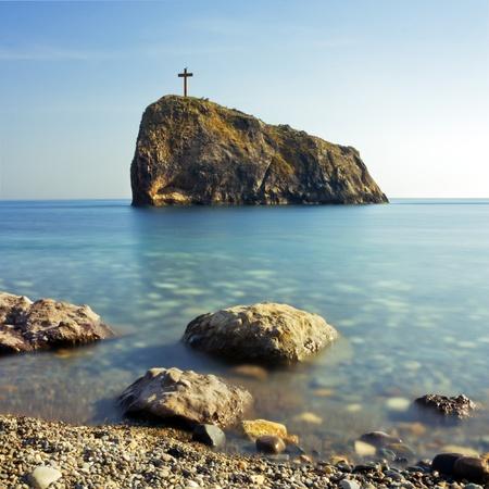 Cross on the Saint George rock, cape Fiolent, Ukraine, Crimea Stock Photo