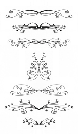 Seven design elements on a white background