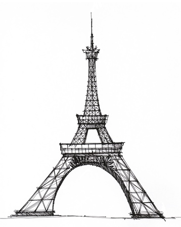 Picture Eiffel tower in Paris, drawn with a pen photo