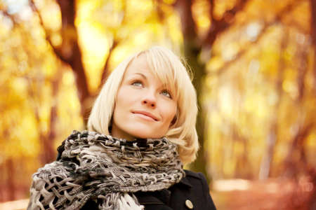 Portrait of a girl in the autumn park Stock Photo