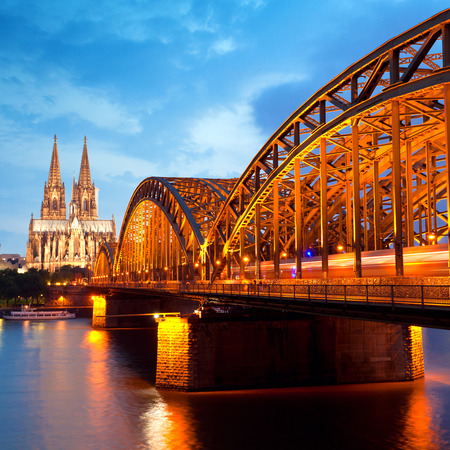 View on Cologne Cathedral and Hohenzollern Bridge, Germany 版權商用圖片