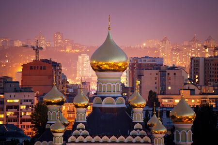 st nicholas cathedral: St. Nicholas Cathedral in Pokrovsky Monastery in Kiev, Ukraine Stock Photo