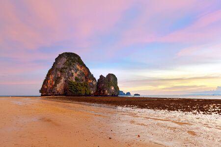 phra nang: Sunset on Krabi. Beach Phra Nang, Thailand