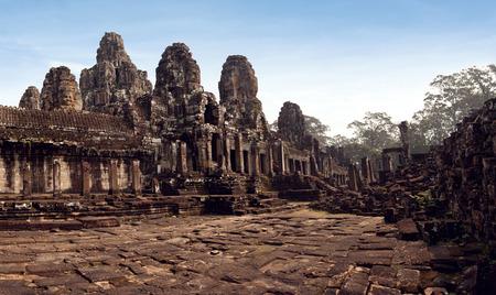 bayon: The Panorama Bayon Castle, Angkor Thom, Cambodia Stock Photo