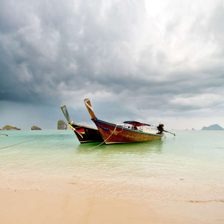 Beautiful boat on the beach. tropical landscape Stock Photo