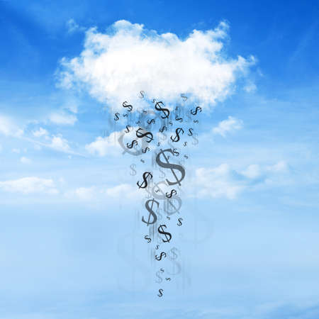 cash flows: Dollar sign falls from the clouds on a beautiful sky background