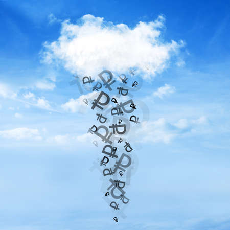 cash flows: Sign of the ruble falls from the clouds on a beautiful sky background