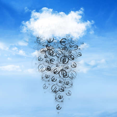 cash flows: Euro sign falls from the clouds on a beautiful sky background Stock Photo