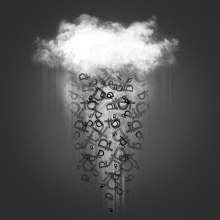 cash flows: Sign of the ruble falls from the clouds on a gray background Stock Photo