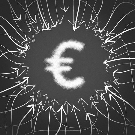 fountainhead: The arrows point to the Euro symbol. Euro sign.