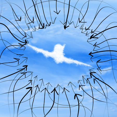 fountainhead: The arrows point to the plane in the sky Stock Photo