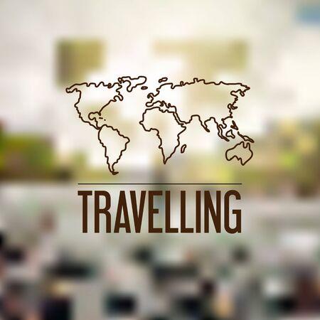 unfocused: The Blurred backgrounds. Travel design. Logo planet