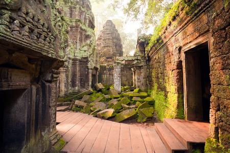 Mening binnen het complex van de tempel van Ta Prohm, Angkor, Cambodja Stockfoto