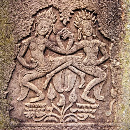 Alivio de piedra antiguo en Angkor Wat, Camboya  Foto de archivo - 38083469