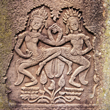 Ancient stone relief in Angkor Wat, Cambodia