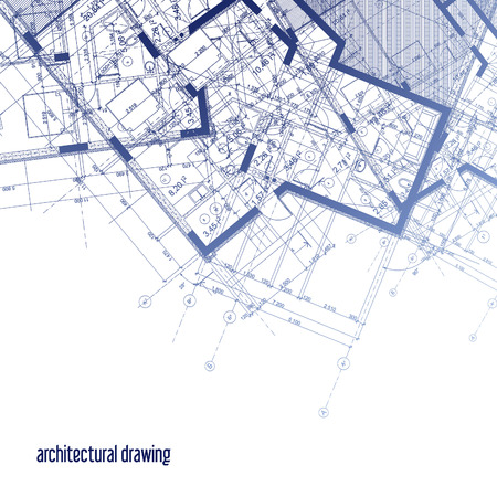 Architectural plans. Part of the architectural design of the house. Foto de archivo